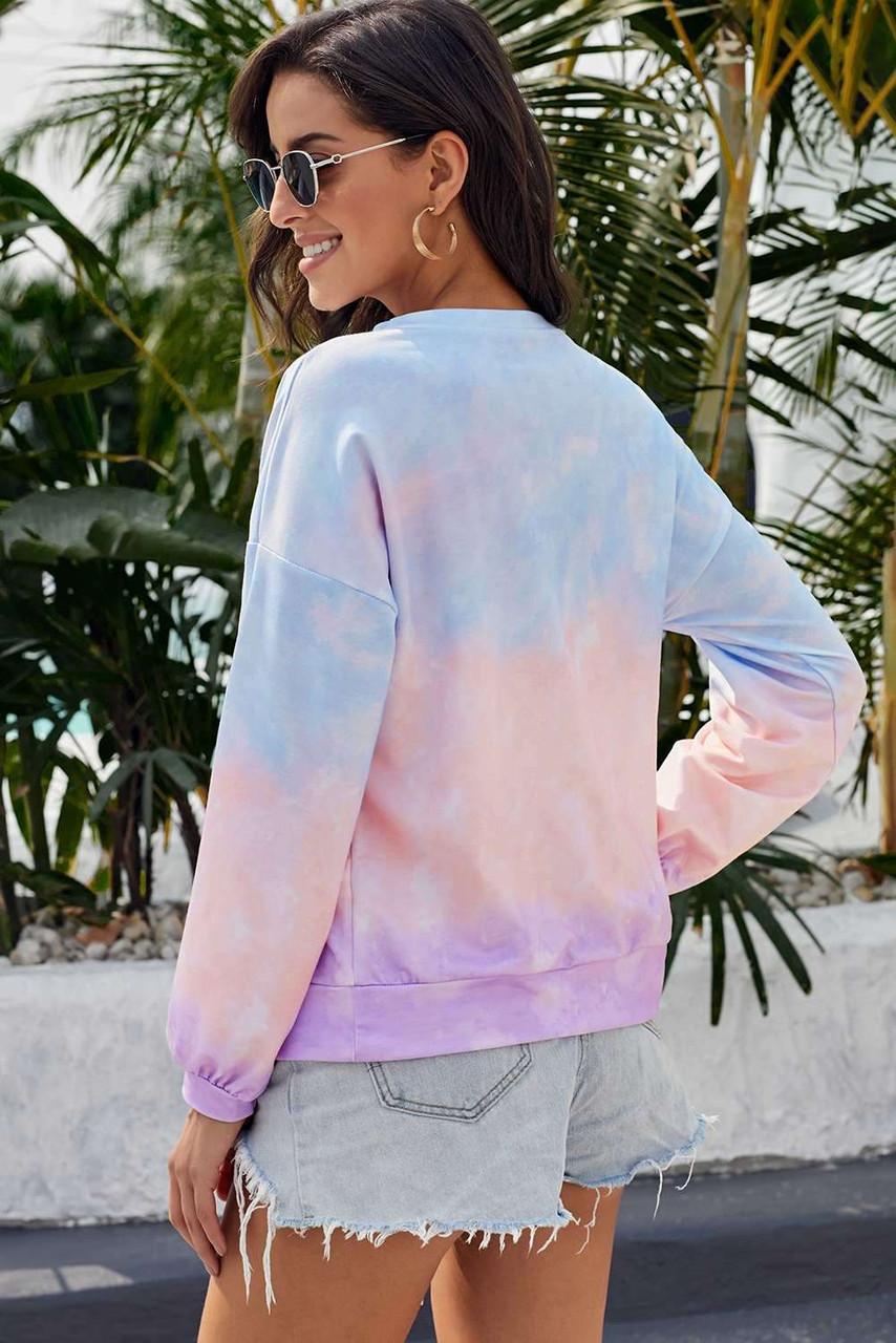 Multicolour Color Block Tie Dye Pullover Sweatshirt