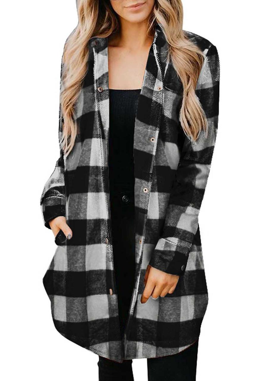 Turn-down Collar Plaid Shirt Coat