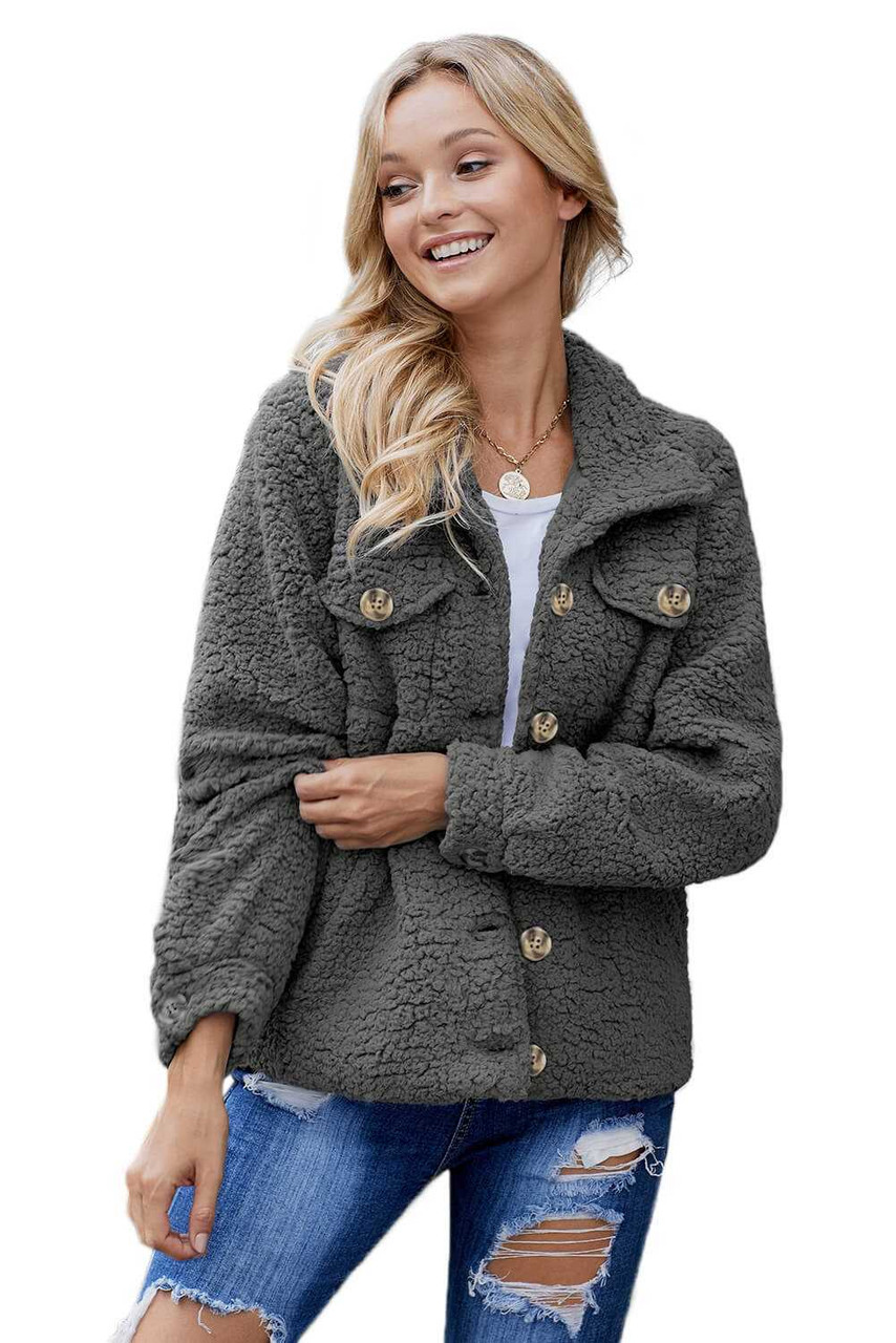 Sherpa Button Up Long Sleeve Jacket For Women