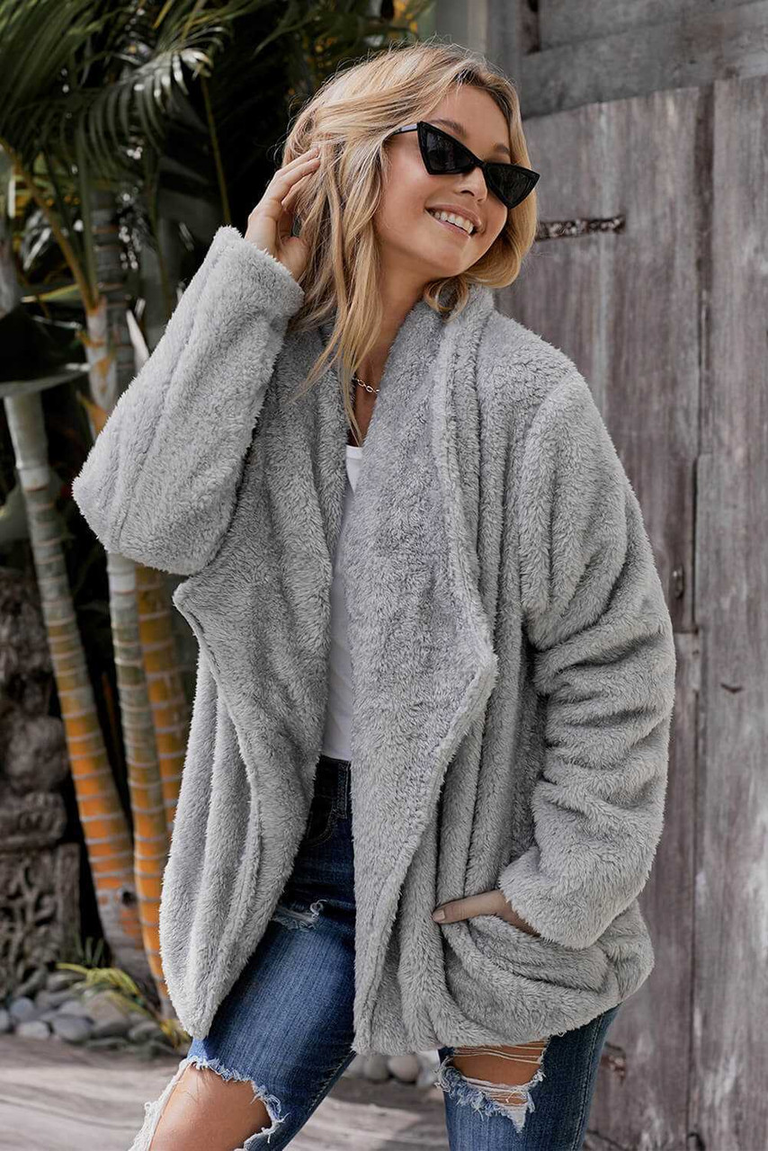 Pocketed Sherpa Jacket For Women