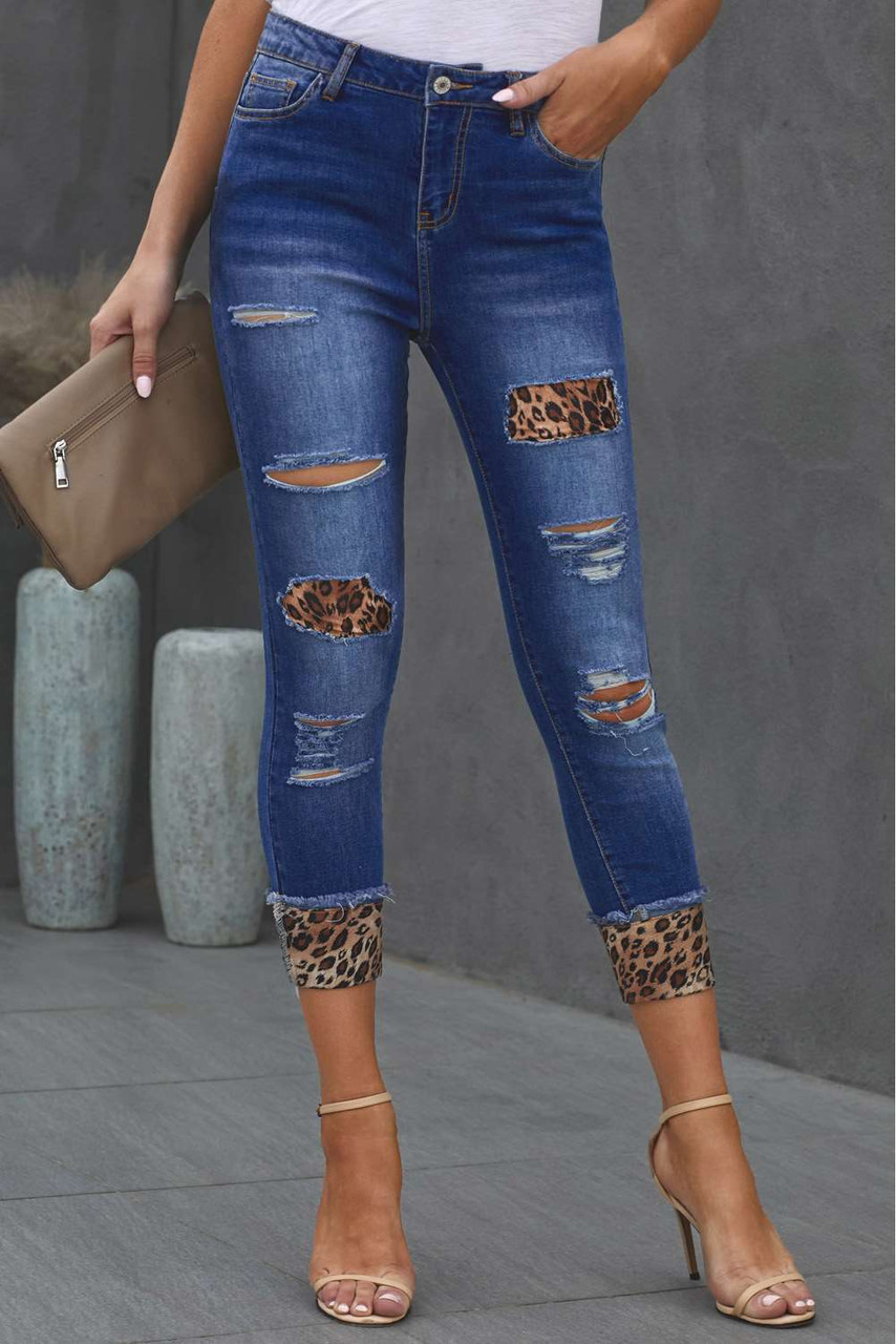 Distressed Leopard Patches Blue Skinny Jeans