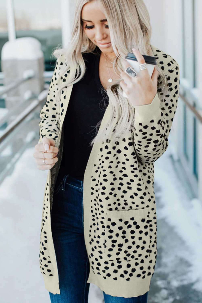 Apricot Open Front Dotted Print Knit Cardigan