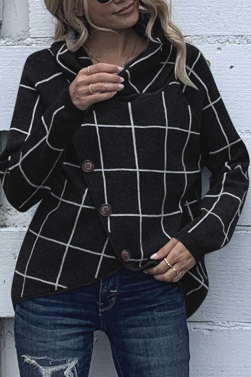 Black Button Wrap Turtleneck Pullover Plaid Print Knit Sweater