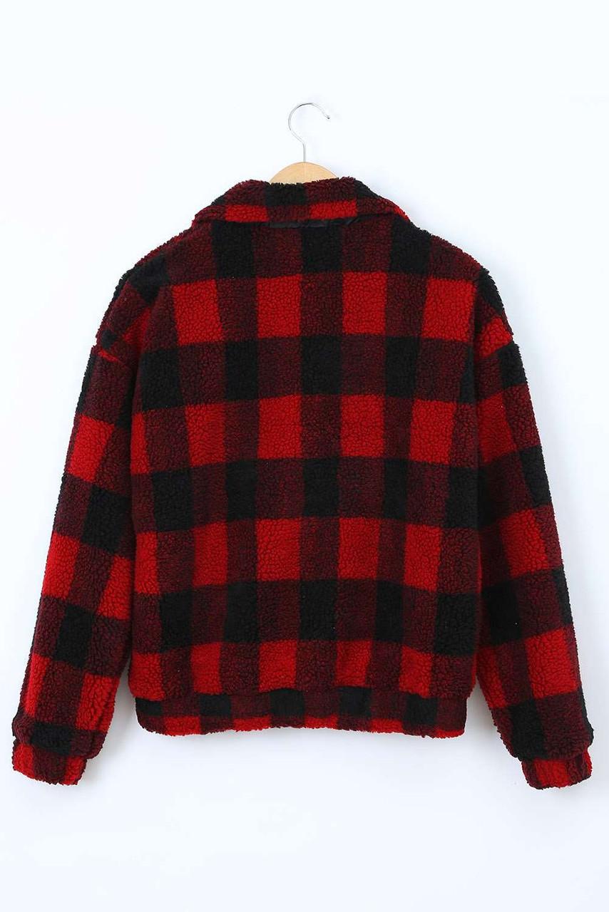 Plaid Print Sherpa Jacket Coat for Women