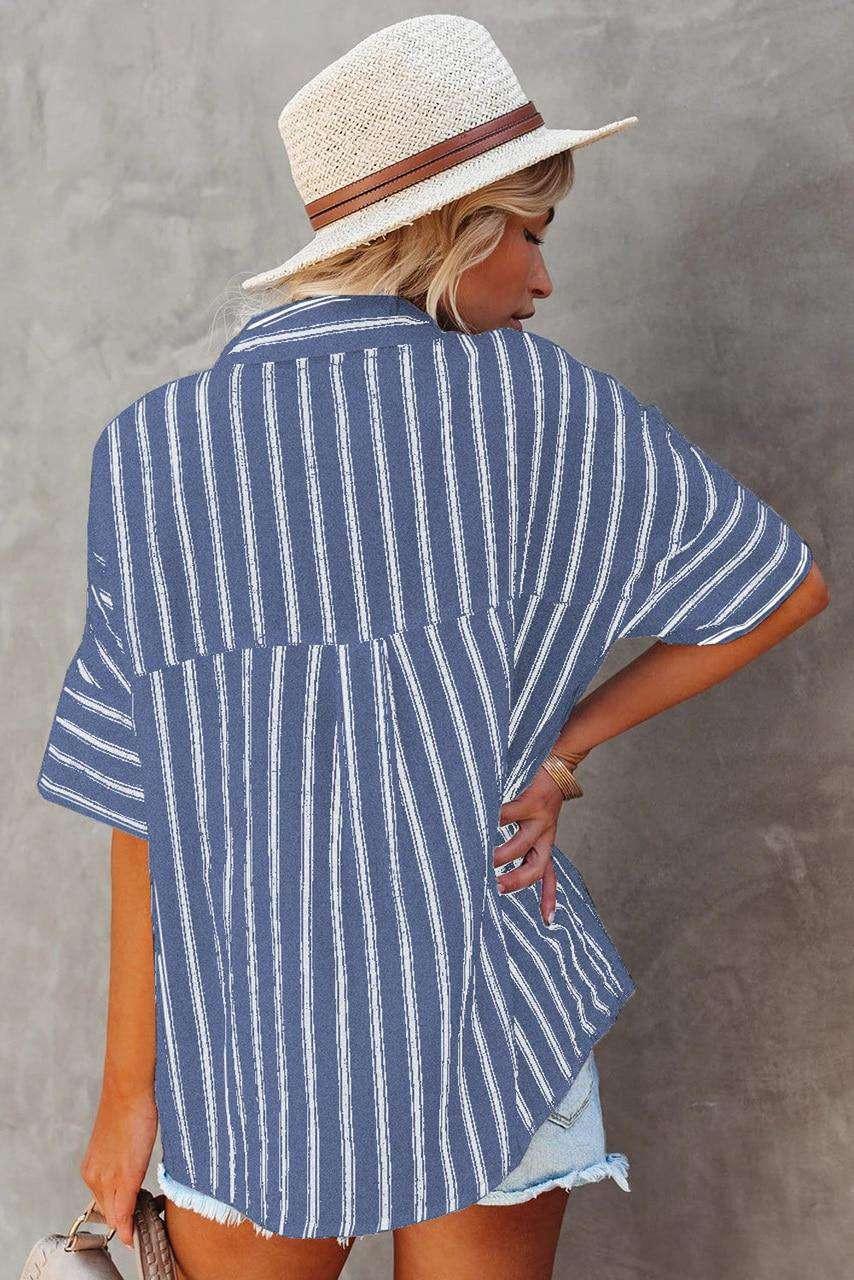 Blue Short Sleeve Striped Shirt