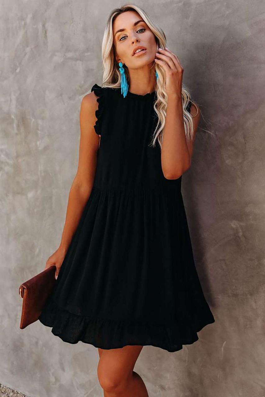 Black Pocketed Ruffle Babydoll Dress