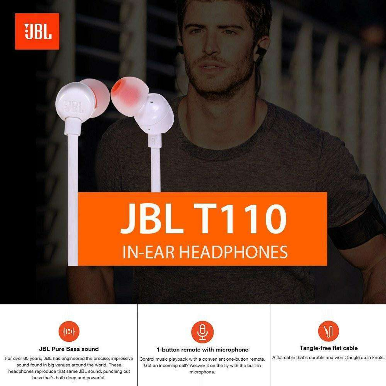 JBL T110 In Ear Headphones With Microphone Wired Control Headphones 3.5mm Jack