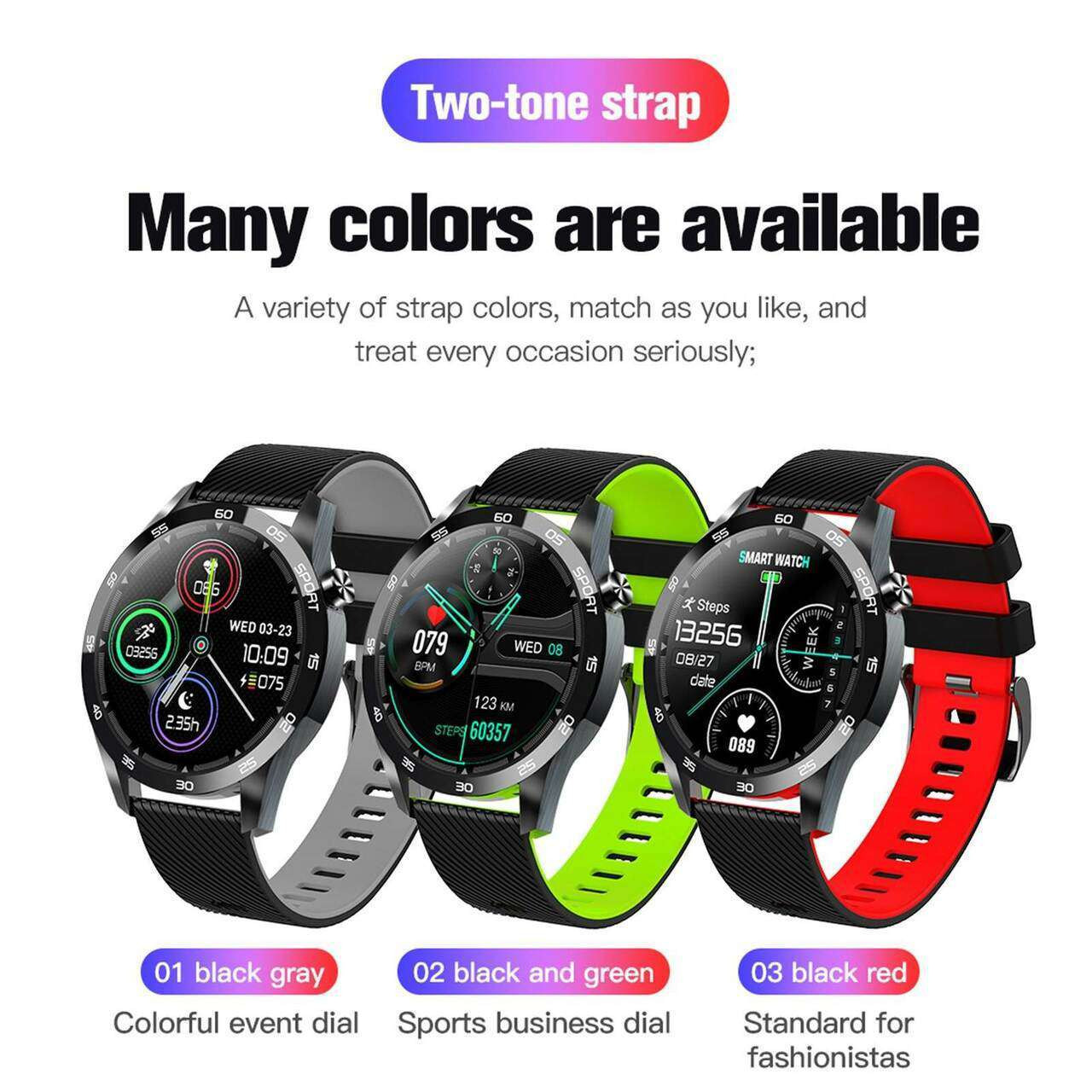 F22L BT4.0 Smartwatch Temperature Measurement Heart Rate Monitoring Information Reminder Breathing Training Sports Watch