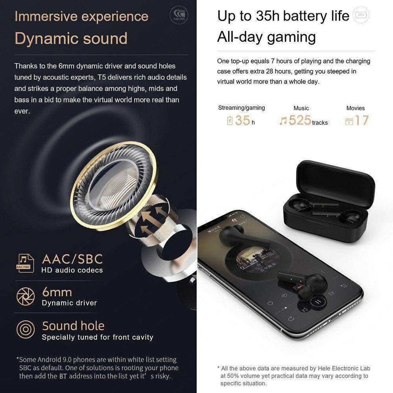 QCY T5NewTrue Wireless Earbuds BT Headphones Touch Control Noise Cancellation TWS In-Ear Built-in Mic