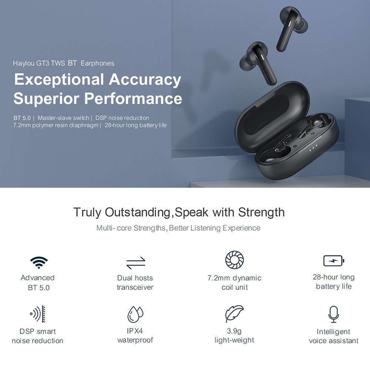 Haylou GT3 TWS In-Ear Earphones BT 5.0 Headphones with Touch Control LED Power Display Stereo Sound DSP Noise