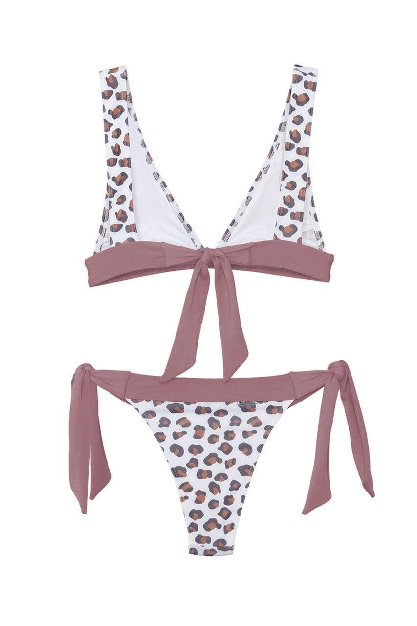 Deep V Neck Leopard Print Bikini with Tied