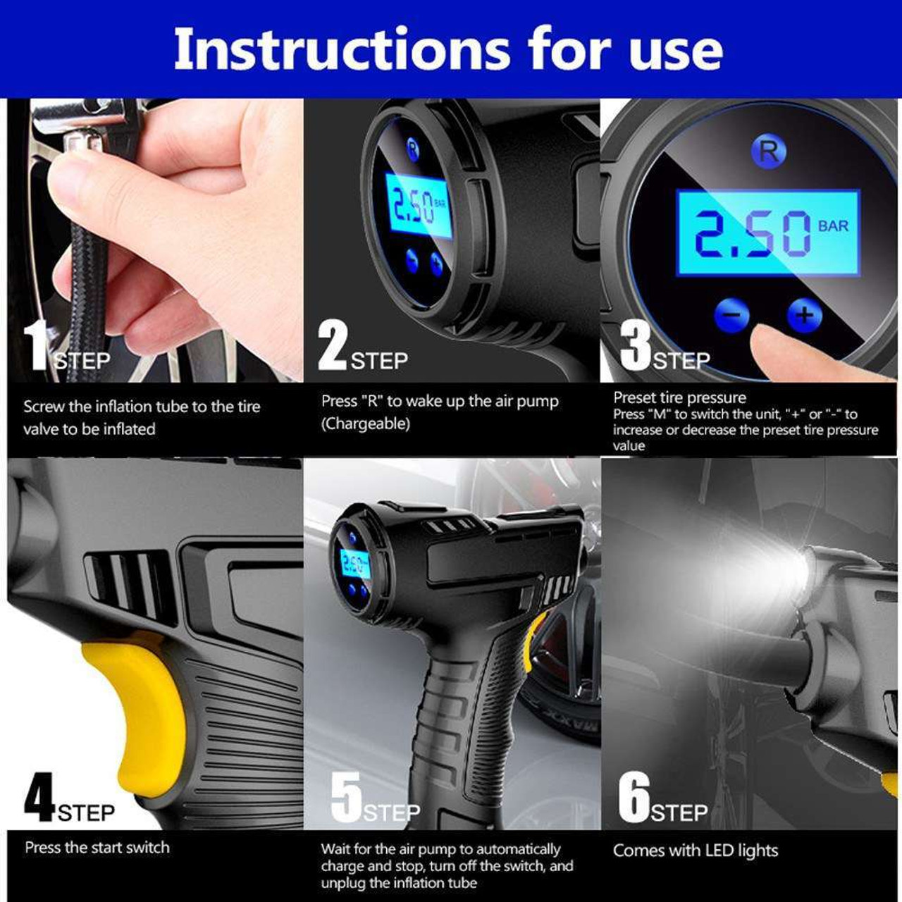 120W Wireless Car Air Compressor Handheld USB Rechargeable