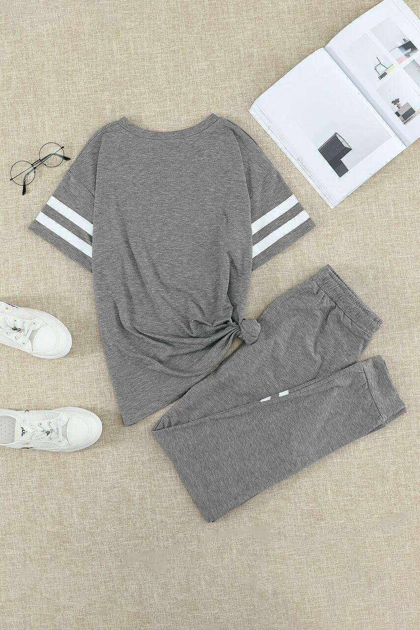 Gray Striped Accent Short Sleeve and Joggers Set