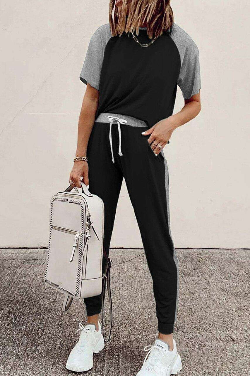 Black Colorblock Short Sleeves and Joggers Sports Set