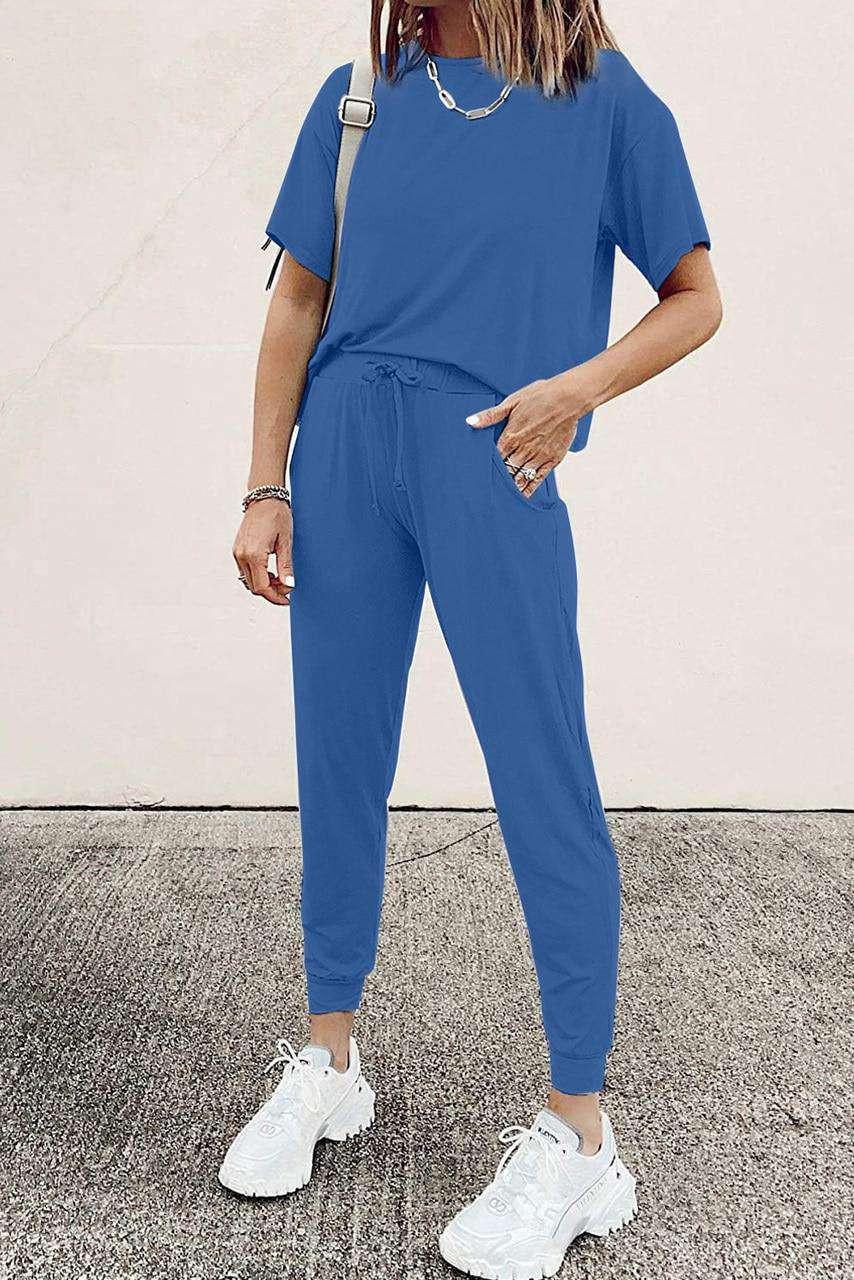 Blue Cozy Cotton T-shirt Pants Set