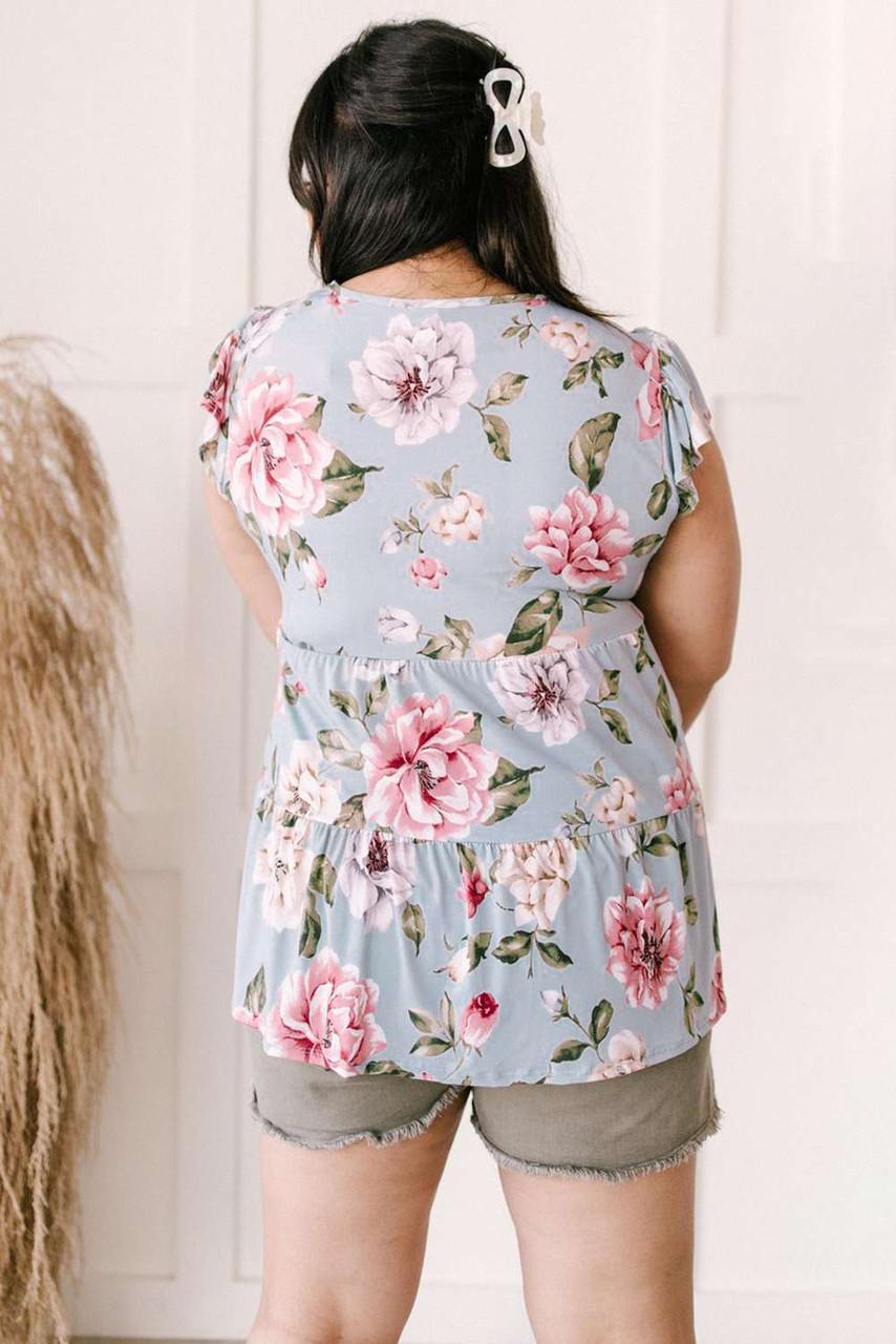 Plus Size Babydoll Floral Top