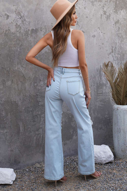Sky Blue Washed Ripped Knee Wide Legs Jeans