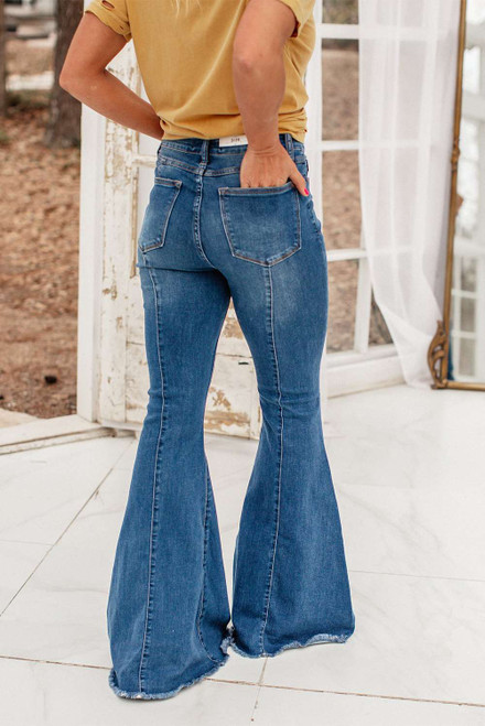 Blue Raw Hem Flared Jeans with Pockets
