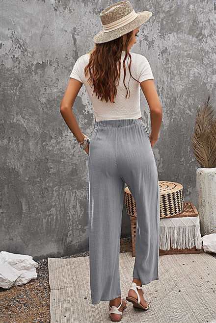 Gray Casual Wide Legs Pants with Pockets