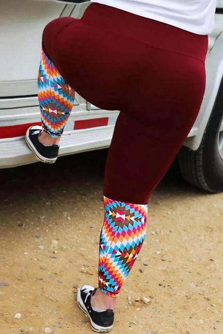 Red Aztec Splicing High Waist Plus Size Pants