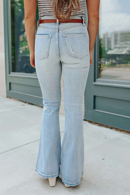 Sky Blue Wash Distressed Flare Jeans