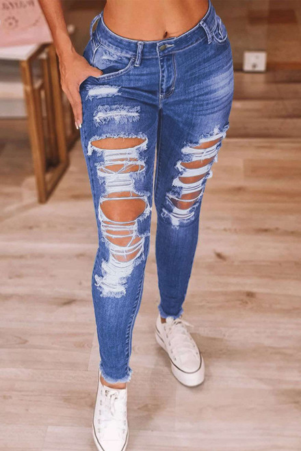 Mid-rise Ripped Raw Anklet Skinny Jeans