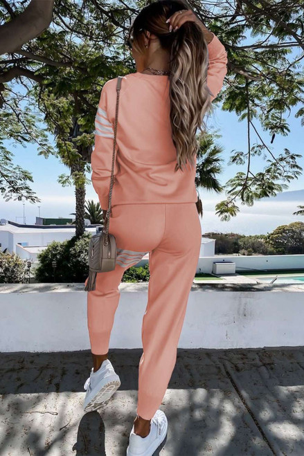 Pink Striped Long Sleeve Top and Sweatpants Set