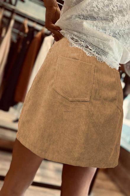 High Waist Corduroy Mini Skirt with Pockets