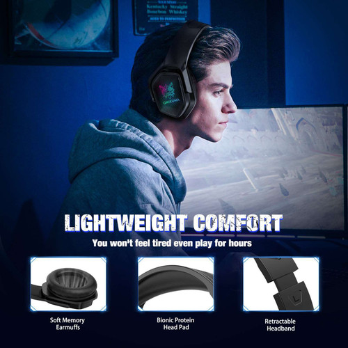 ONIKUMA X4 Wired Gaming Headset Stereo with Noise Reduction Mic RGB Lights for PS5 PS4, Xbox
