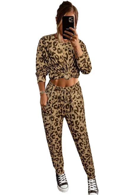 Leopard Print Long Sleeve Top and Drawstring Pants Set