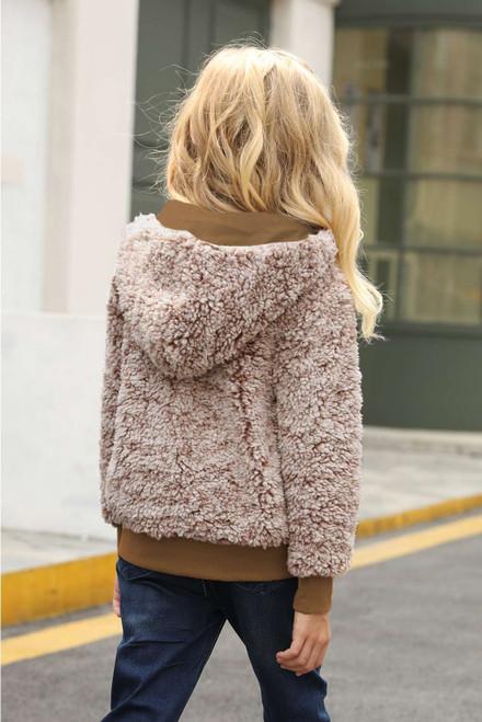 Brown Girls' Faux Fur Bomber Jacket