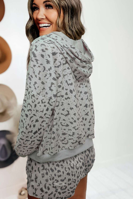 Leopard Two-piece Long Sleeve Hooded Top and Shorts Lounge Set