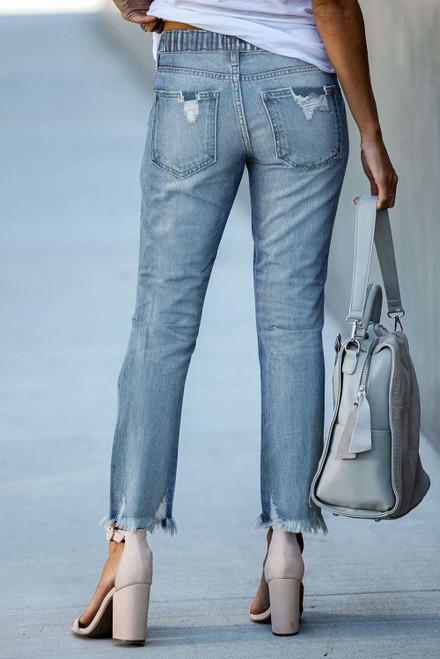 Light Blue Elastic Waist Straight Leg Destroyed Raw Hem Jeans