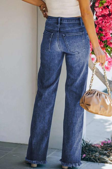 Blue Raw Hem Straight Leg Jeans