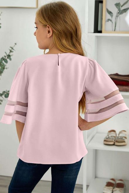 Pink Girl's 3/4 Bell Sleeve Mesh Panel Blouse