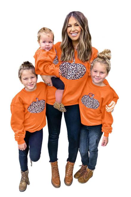 Halloween Pumpkin Print Parent-child Matching Girls Pullover Sweatshirt