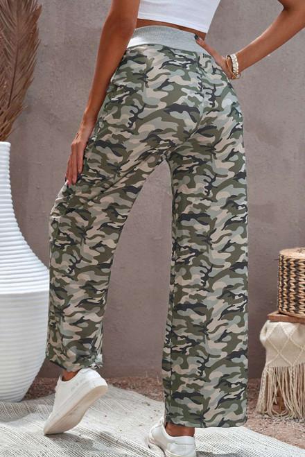 Camouflage Print Drawstring Waist Wide Leg Pants