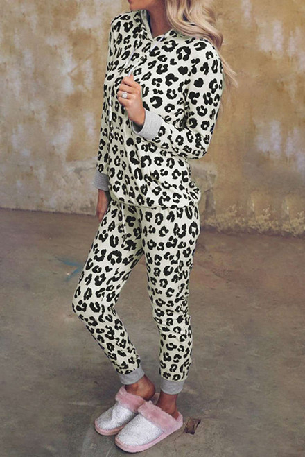 Leopard Print Hooded Top and Slim-fit Pants Loungewear