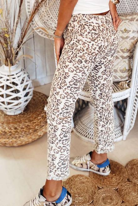 Leopard Raw Hem Straight Legs Pants