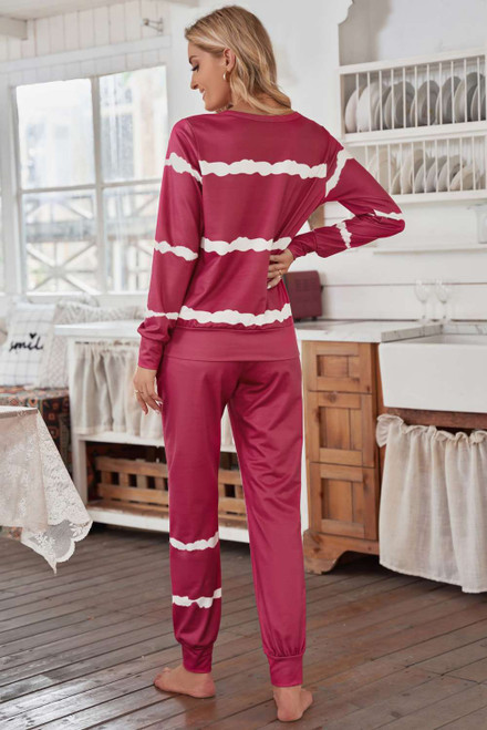 Red Stripes Long Sleeves and Joggers Lounge Set