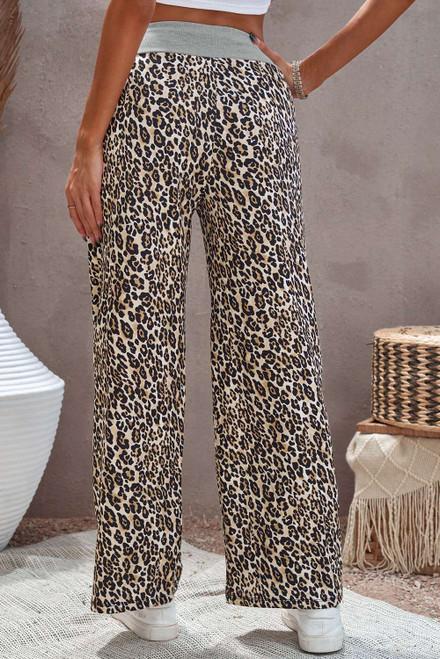 Leopard Print Drawstring Waist Wide Leg Pants