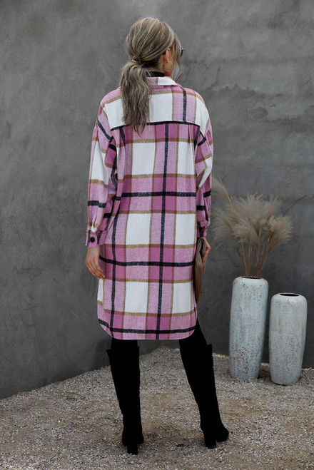 Pink Turn Down Collar Pocket Buttoned Plaid Print Coat