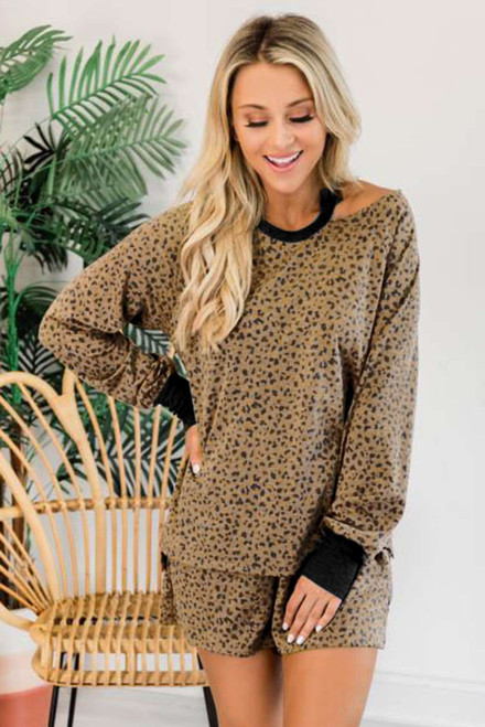 Leopard Print Hollow-out Blouse and Shorts Lounge Wear