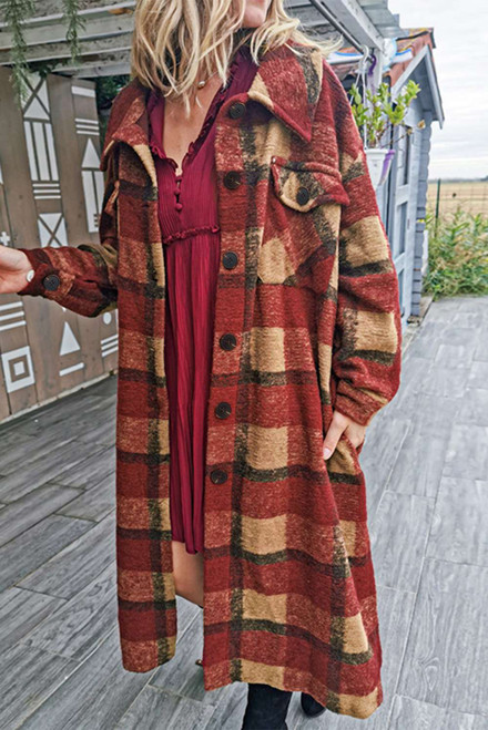 Red Pocketed Grid Pattern Overcoat