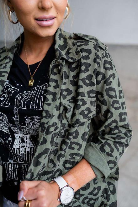 Green Lapel Collar Zipper Drawstring Leopard Coat