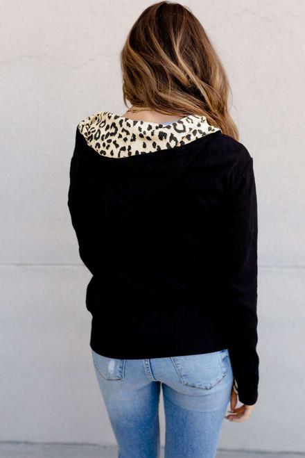 Leopard Patchwork Zip-up Hooded Coat