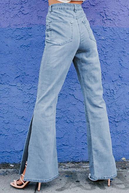 Sky Blue Wide Leg Split Hemline Flared Jeans