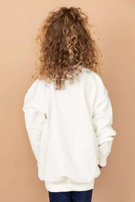 White Plaid Pumpkin Print Girls Pullover Sweatshirt