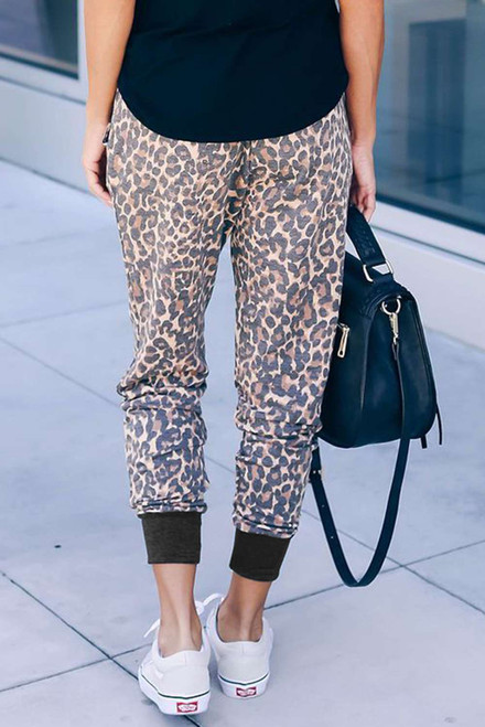 Leopard Print Drawstring Joggers with Side Pocket