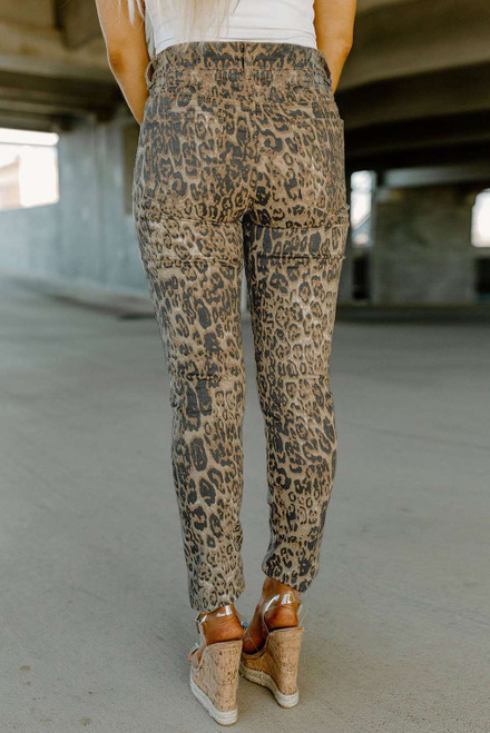 Leopard High Waist Ripped Skinny Jeans